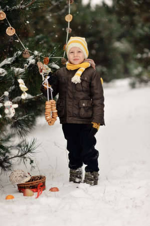 in the forest boy decorates a Christmas tree toys Stock Photo - 16962495