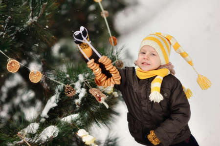 in the forest boy decorates a Christmas tree toys Stock Photo - 16962499