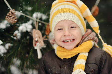 portrait of a boy in a cap on a background of winter trees Stock Photo - 16962488