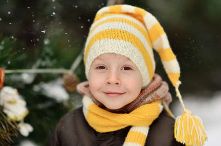 portrait of a boy in a cap on a background of winter trees Stock Photo - 16962494