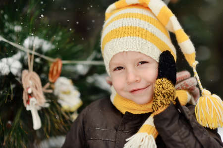 portrait of a boy in a cap on a background of winter trees Stock Photo - 16962487