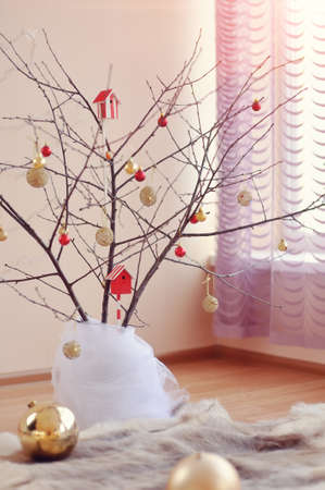 Decorative registration in a room the decorated tree toys photo