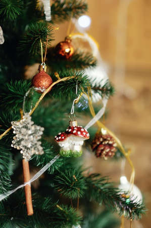 The New Year tree is decorated by toys the made hands Stock Photo - 17104843