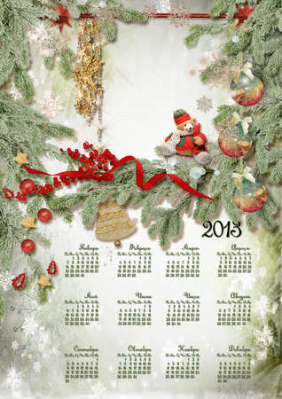 Calendar  with toys and a bear against a fur-tree with snowflakes Stock Photo - 17283771