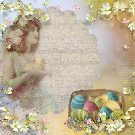 cartoline vittoriane: Pasqua cartolina d'epoca con belle uova e lo spazio per il testo