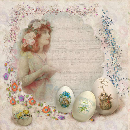 victorian anniversary: Easter vintage postcard with beautiful eggs and space for text