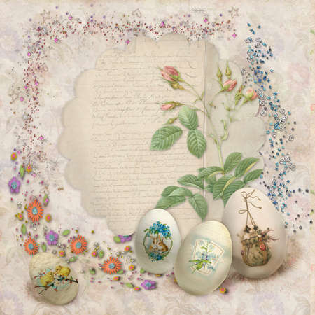 postcard background: Easter vintage postcard with beautiful eggs and space for text
