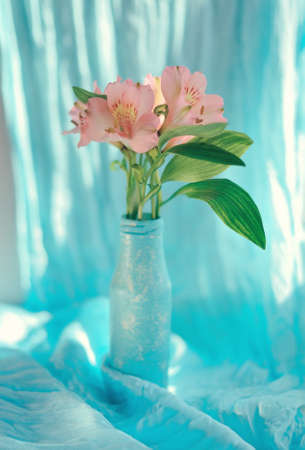 on a blue background and a blue vase delicate ornamental flowers photo