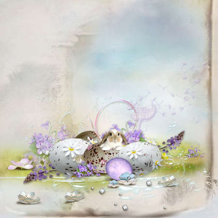 Easter postcard-beautiful composition with rabbit eggs Stock fotó