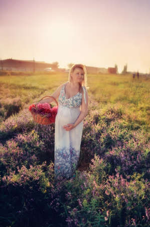 at sunset walks on the field a pregnant woman with a basket of flowers photo
