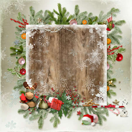 Christmas card with Christmas tree, snowflakes, toys and space for text photo