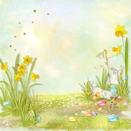 Easter collage with space for text with rabbits, flowers and eggs Stock fotó - 24679329