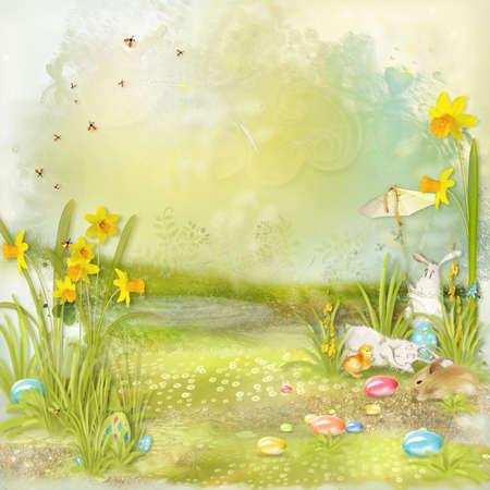 grunge backgrounds: Collage de Pascua con el espacio para el texto con conejos, flores y huevos Foto de archivo