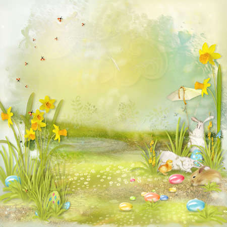 Easter collage with space for text with rabbits, flowers and eggs