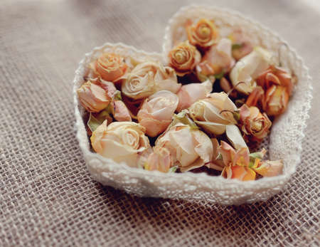 small buds on the fabric dried pink roses and ribbon-floral heart valentine photo
