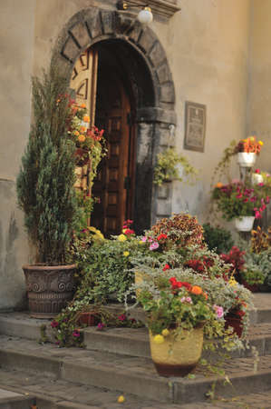 building with a wooden gate and on the steps of vases with flowers photo
