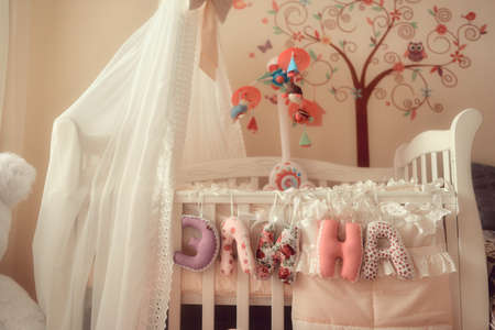childrens room with a tree on the wall and a beautiful crib with canopy photo