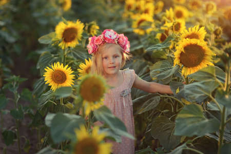 little girl with long hair in a pink dress and a wreath on his head in the sunflowers