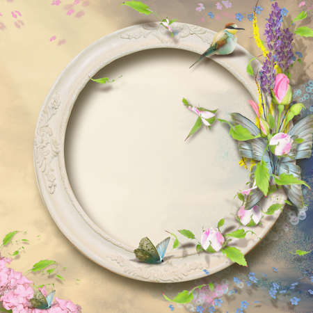 space for writing: delicate floral frame with empty space for writing