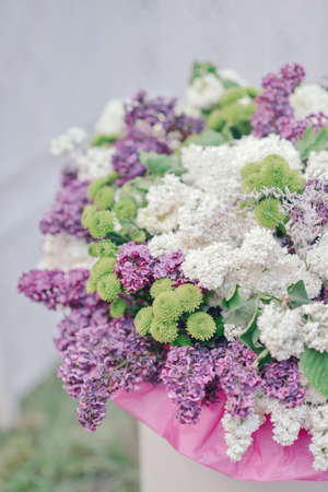 lilac flowers: in a vase large bouquet of purple and white lilac