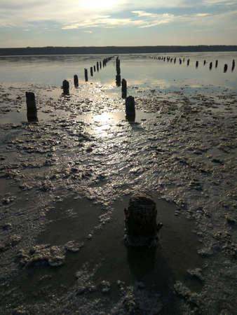 odessa: sunset and reflection in hadzhibeevskim salty estuary in Odessa