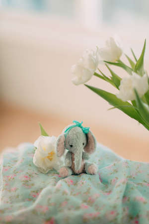 plush elephant and a bouquet of white spring flowers photo