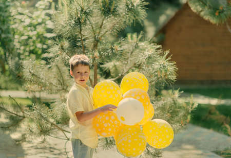 sunny day outdoors pine boy with yellow balloons Stock Photo