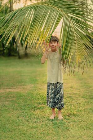 An einem sonnigen Sommertag auf grünem Gras Junge und einen großen Palmzweig Standard-Bild - 76435328