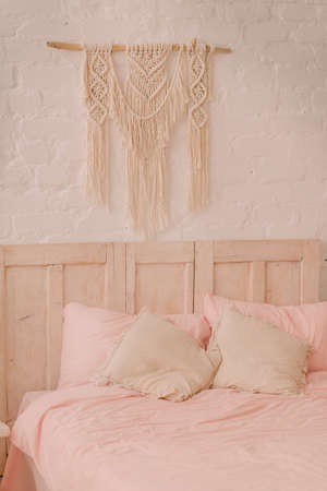 boudoir: Bed in a vintage style with pillows on it