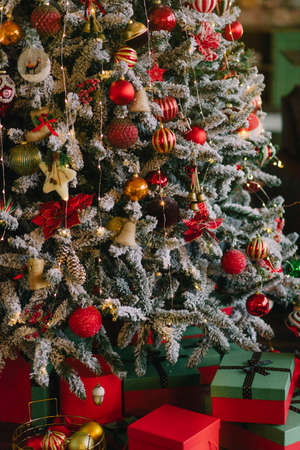 christmas decoration with christmas tree and presents