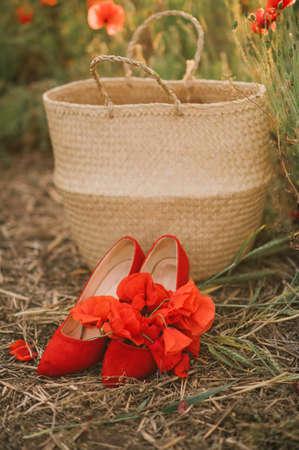 Girl in a white dress with a wicker basket on a poppy field Stock fotó