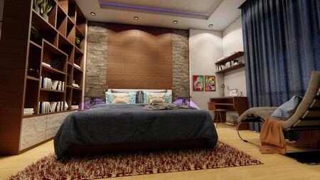 Warm interior design with blue contrasts. Фото со стока