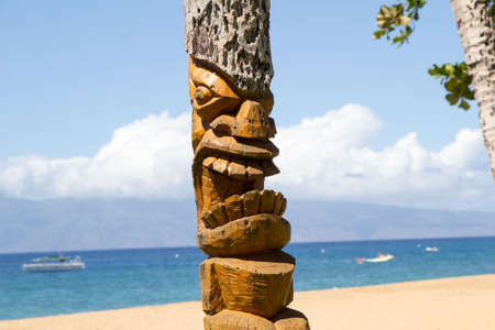 Wood totem, Honolulu,Hawaii photo