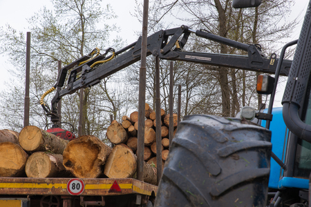 Stacking logs on a truck