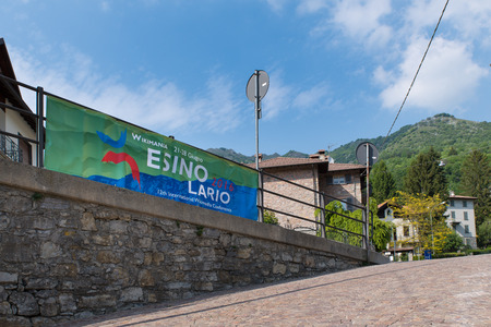 wikipedia: Esino Lario, province of Lecco, Italy - May 27, 2016: That banner advertises the 12th international Wikimedia conference between 21 to 28 June 2016. The photo was taken near the town hall of Esino Lario. Esino Lario is a small mountain village above Lake