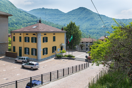 wikipedia: Esino Lario, province of Lecco, Italy - May 27, 2016: town hall of Esino Lario located near the main road That runs through the village. Esino Lario, venue between 21 to 28 June 2016 of the 12th international Wikimedia conference, is a small mountain vill
