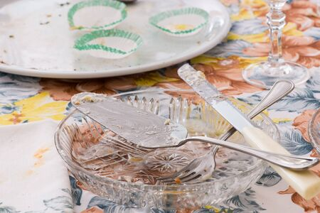 unwashed: Dishes and cutlery dirty