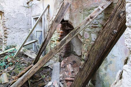 debris: Dilapidated house, earthquake, rubble and debris