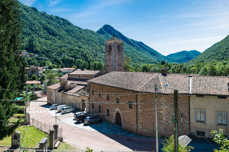 Abbey (Badia) of St Gemolo in Ganna, Lombardy, Italy. It is dates back to the twelfth century and is located in Ganna (Valganna), bordering the regional park of Campo dei Fiori Varese Editorial