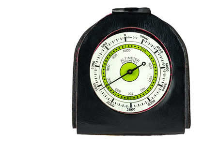 atmospheric pressure: Altimeter and barometer for hiking on white background
