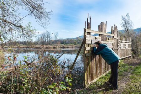 naturalistic: Shielding barrier for birdwatching along naturalistic route at the Oasis Brabbia marsh, the provinces of Varese, Italy
