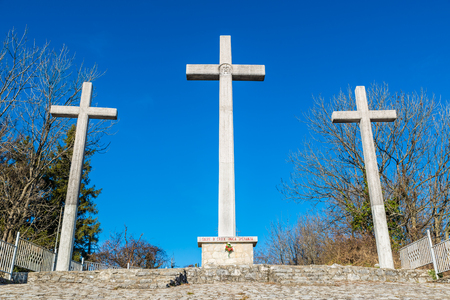 Three crosses against blue sky. Sacred Way on Mount three crosses in the Regional Park Campo dei Fiori, over the Sacro Monte of Varese