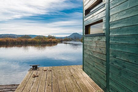 Eco tourism. Brabbia marsh nature reserve, the provinces of Varese, Italy, along a naturalistic route and near a small shack floating birdwatching Stock Photo