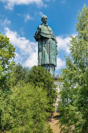 San Carlo Borromeo or Sancarlone Colossus famous statue in Arona village on the Lake Maggiore area, Piedmont region Italy