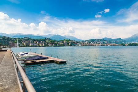 Lugano city, lake Lugano, Switzerland. View of the gulf of Lugano on a beautiful summer day