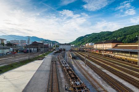 goods train: Chiasso, Canton Ticino, Switzerland. View of the only railway classification yard or marshalling yard of Switzerland Stock Photo