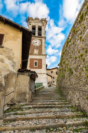 Sacro Monte of Varese (Santa Maria del Monte), medieval village, Italy - Picturesque alley that leads to the church of the small and old hamlet. In 2003 entered from UNESCO in list of World Heritage