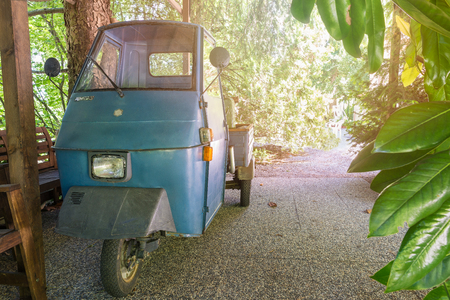 Piaggio Ape or Ape car, three wheeled vehicle produced since 1948. Ape 50, model Elestart TL3T produced between 1984 and 1985. It is an Italian symbol unique in the world