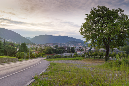 Southern Switzerland, Canton of Ticino. Chiasso town in the morning
