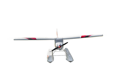 Remote controlled aircraft model, seaplane on white background